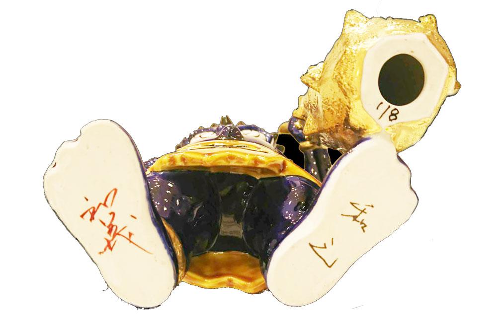 瀧下和之×北村和義 コラボレーション企画第二弾 <br>九谷焼フィギュア「色絵金彩 鬼に金棒。」青鬼 完売