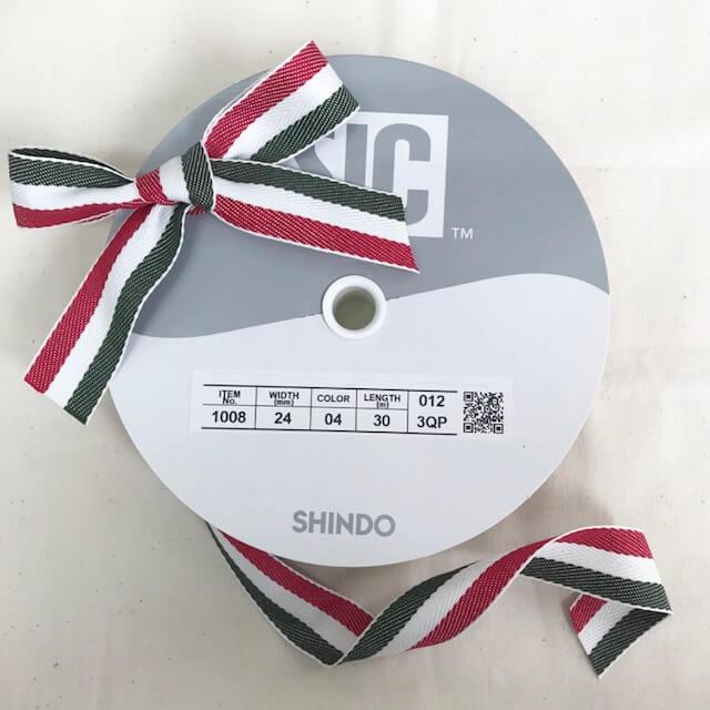 SIC-1008:コットン杉綾リボン/ストライプ(m販売)