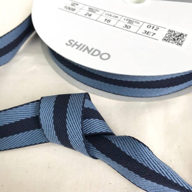 SIC-1008:コットン杉綾リボン/ストライプ(30m巻)