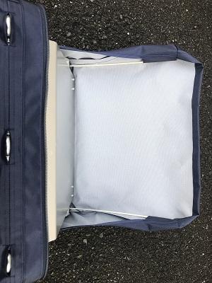 融着機や関連工具、部材を収納したまま作業でヒヤリハット解消を実現!装着型落下防止作業袋『むささび』 融着機用テーブルトレー付
