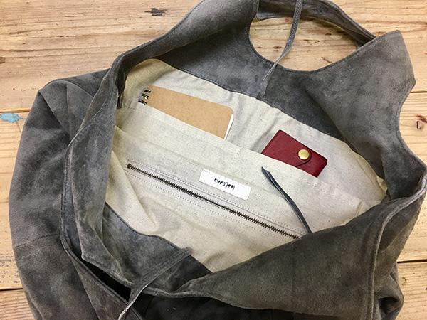 L1530 ウォッシャブル(洗えるレザー) ドロップトートバッグ カーキ [washable drop tote bag / khaki]