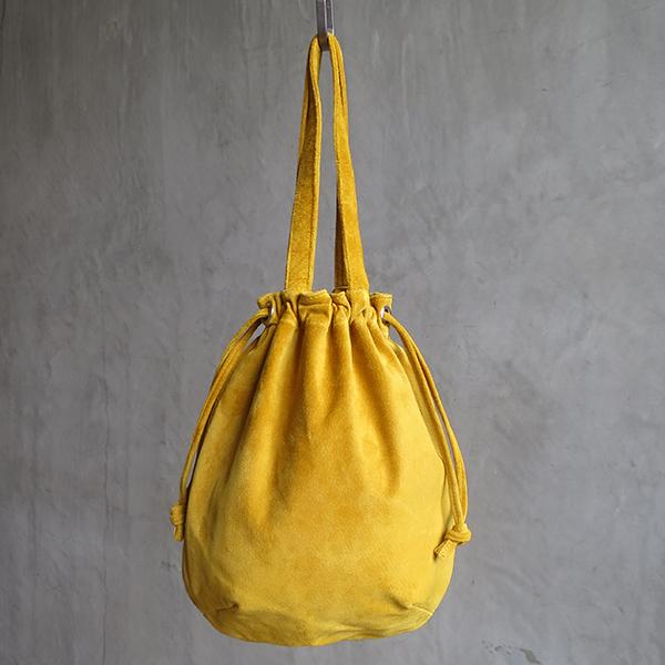 L1725 ウォッシャブル(洗えるレザー) ウリングトートバッグ マスタード [washable wring tote bag / mustard]