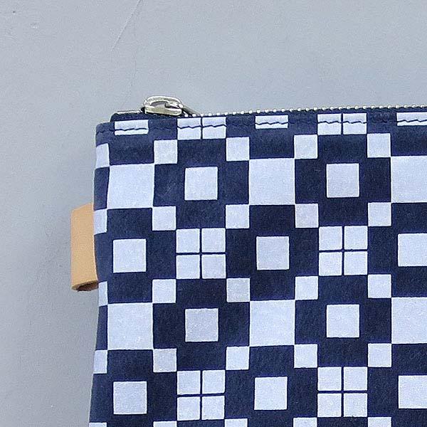 L1866市松柄ポーチ ネイビー [itimatu pouch/navy]
