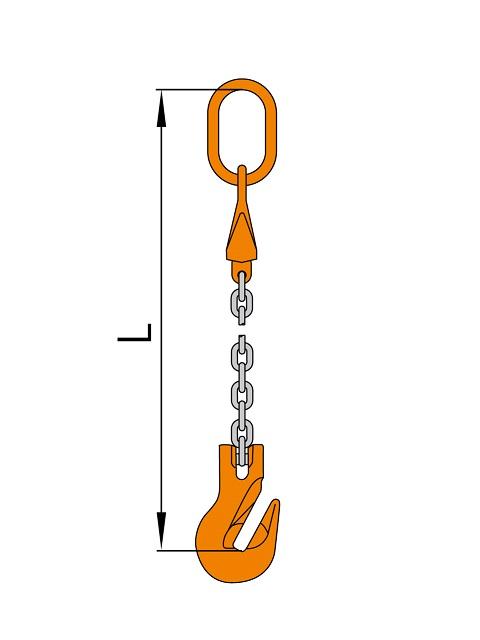 チェーンスリング 1本吊り グラブフック付 S-SP4 長さ調整可能