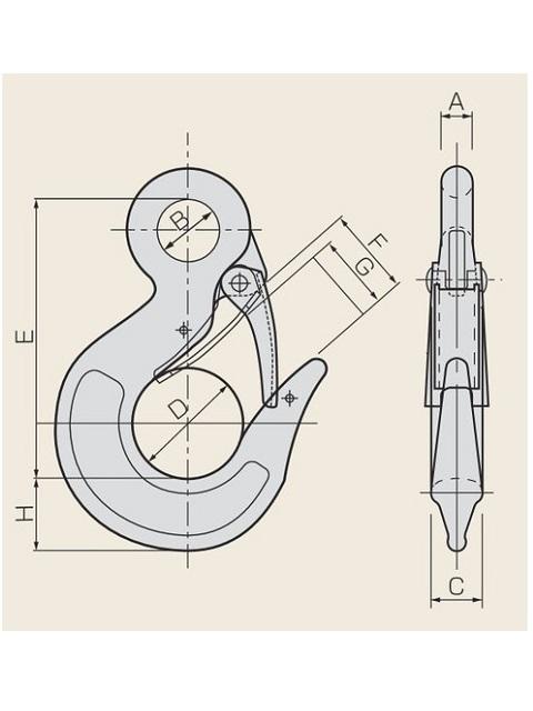 ステンレス 鍛造環付フック (SUS304) 安全レバー付き