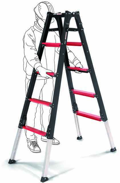 上部操作型伸縮脚付はしご兼用脚立 GUD180