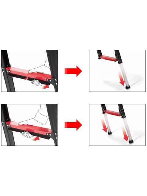 上部操作型伸縮脚付はしご兼用脚立 GUD210