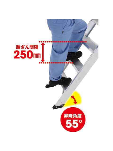 折りたたみ式作業台(背面キャスター、フル手すり標準装備) CSD-F 天板高さ2.25m CSD-225F