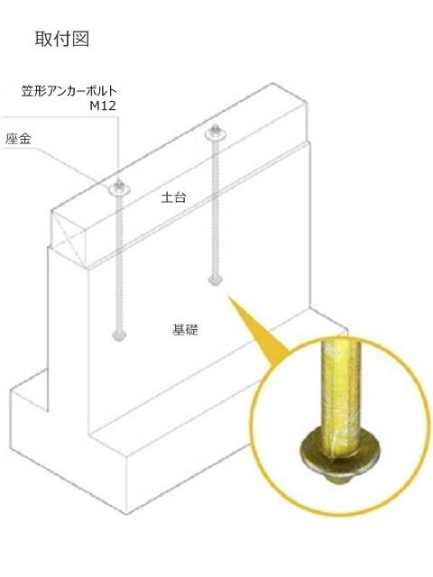 笠形アンカーボルト M12(50本入り)