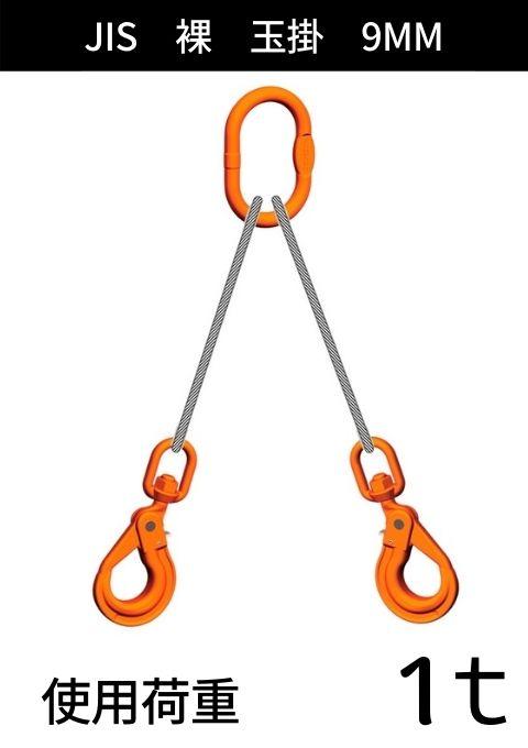 ワイヤロープ+リング・フック_2本吊り_JIS6×24_裸_コース入り玉掛_ワイヤ径:9MM