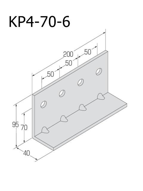 自立コンピース(四つ穴) 板厚6mm (ケース販売)