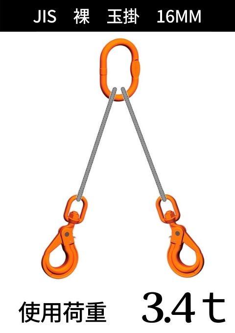 ワイヤロープ+リング・フック_2本吊り_JIS6×24_裸_コース入り玉掛_ワイヤ径:16MM
