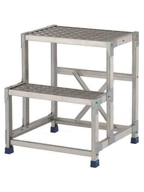 ステンレス金具仕様作業台(天板縞板タイプ) 2段 CMT 天板高さ 700mm 受注生産品 CMT-276S
