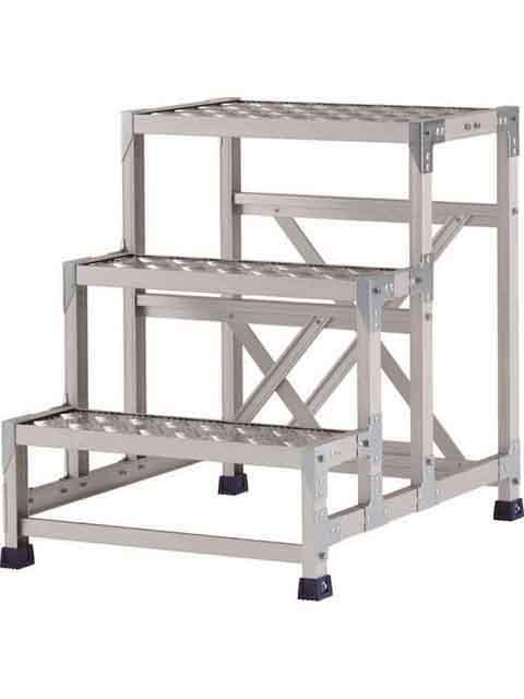 ステンレス金具仕様作業台(天板縞板タイプ) 3段 CMT 天板高さ 750mm 受注生産品 CMT-376S