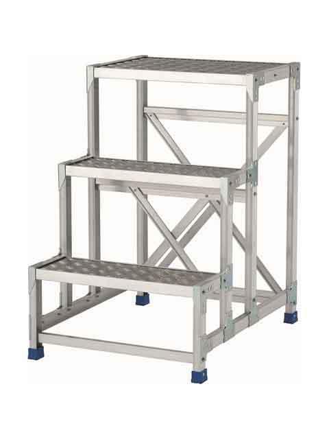 ステンレス金具仕様作業台(天板縞板タイプ) 3段 CMT 天板高さ 900mm 受注生産品 CMT-396S