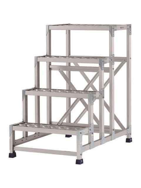 ステンレス金具仕様作業台(天板縞板タイプ) 4段 CMT 天板高さ 1000mm 受注生産品 CMT-4106S