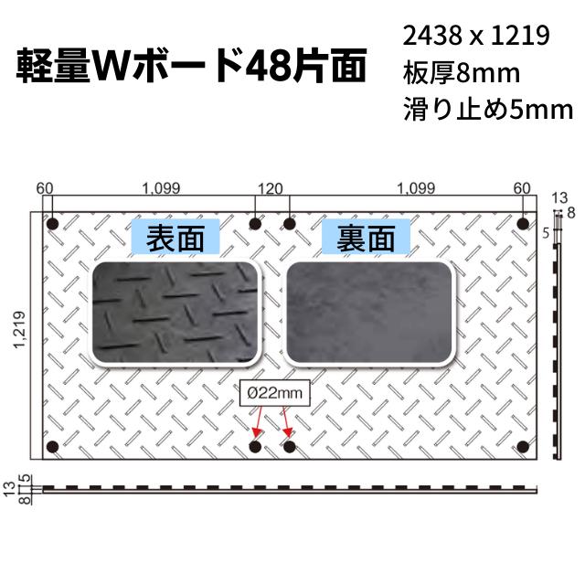 Wボード軽量タイプ 4尺X8尺 片面凸