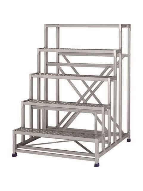 ステンレス金具仕様作業台(天板縞板タイプ) 5段 CMT 天板高さ 1500mm 受注生産品 CMT-5151S
