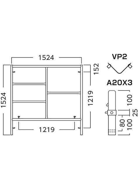 ローリングタワー(移動式足場) RT用  移動式足場建枠ピン付 A1515AX3