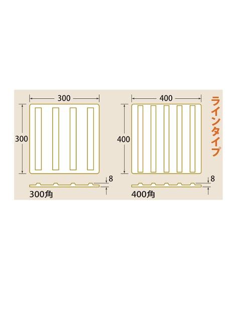 点字パネル 300角 ラインタイプ (ラバータイプ合成ゴム)