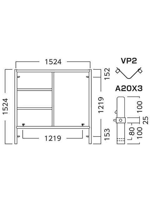 ローリングタワー(移動式足場) RT用  移動式足場建枠ピン付 A1515BX3