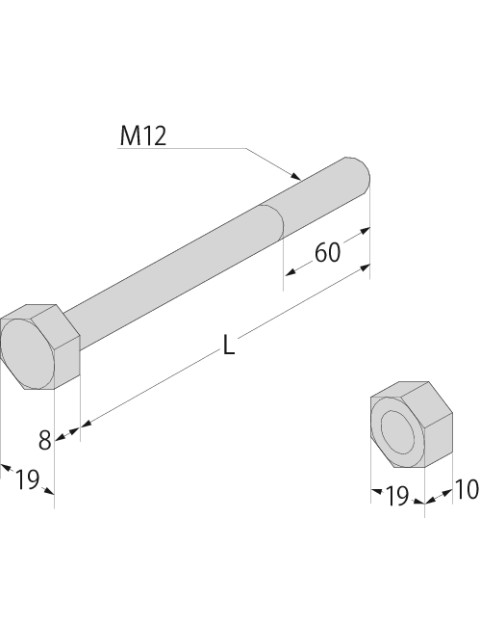 (Z)六角ボルト・ナット M12 (ケース販売)