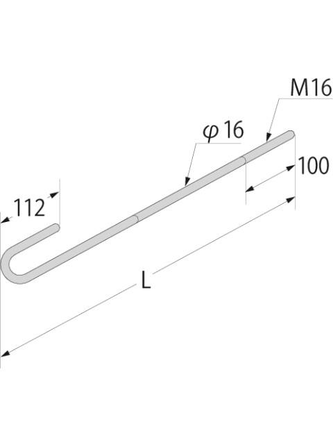 (Z)ホールダウンアンカー  M16  ナット付 (10本入り)