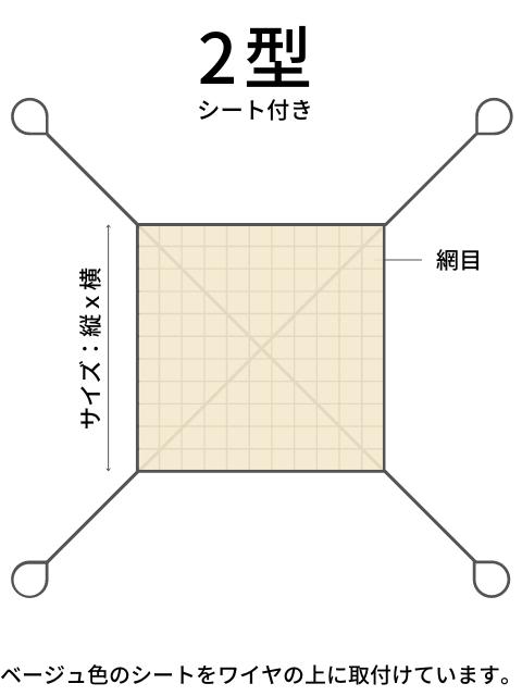 ワイヤモッコ 2型(4本吊り手) シート付き