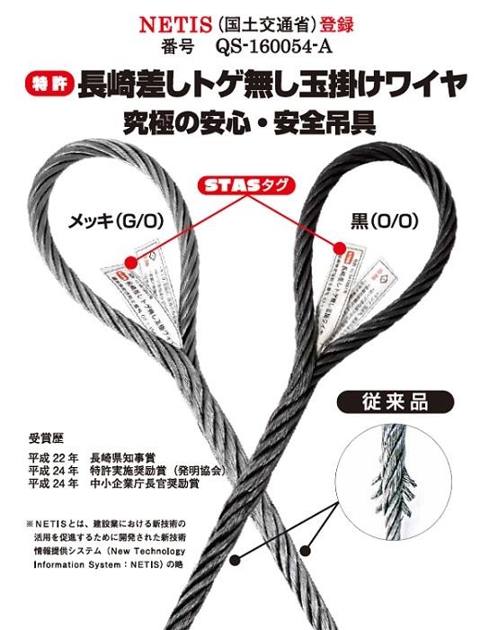 トゲなし玉掛ワイヤ(JISワイヤ4号メッキ品使用)