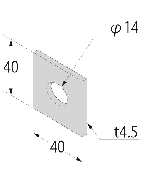 (Z)角座金 4.5×40  (500個入り)