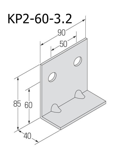 自立コンピース(二つ穴) 板厚3.2mm (ケース販売)