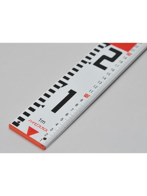 ミリ目付ロッド 1.1m 両面20cm間隔赤白  表横数字・裏縦数字