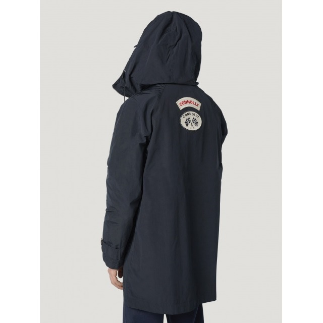 HOODED PARKA WITH PATCHES