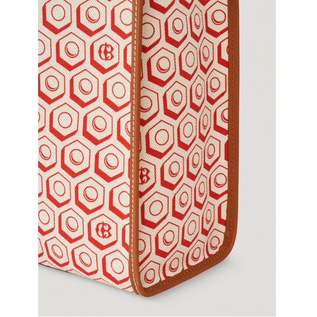 PRINTED CANVAS SHOPPER RED