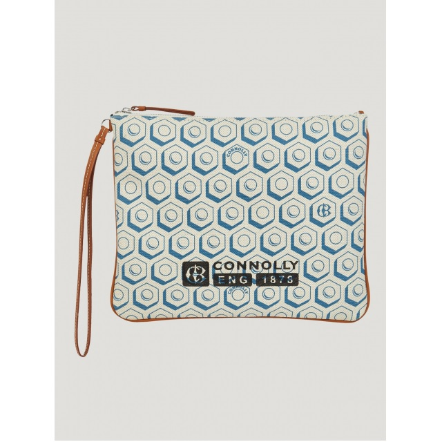 FLAT PRINTED POUCH (L) BLUE