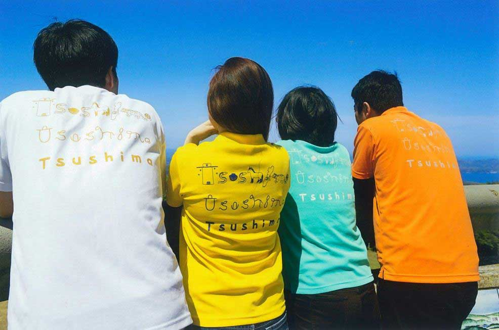 Tsushima象形文字ポロシャツ (カジュアル生地、胸ロゴ:アイラブ)