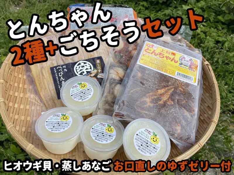 とんちゃん2種+ごちそうセット(ヒオウギ貝+あなご)【冷凍・送料無料】