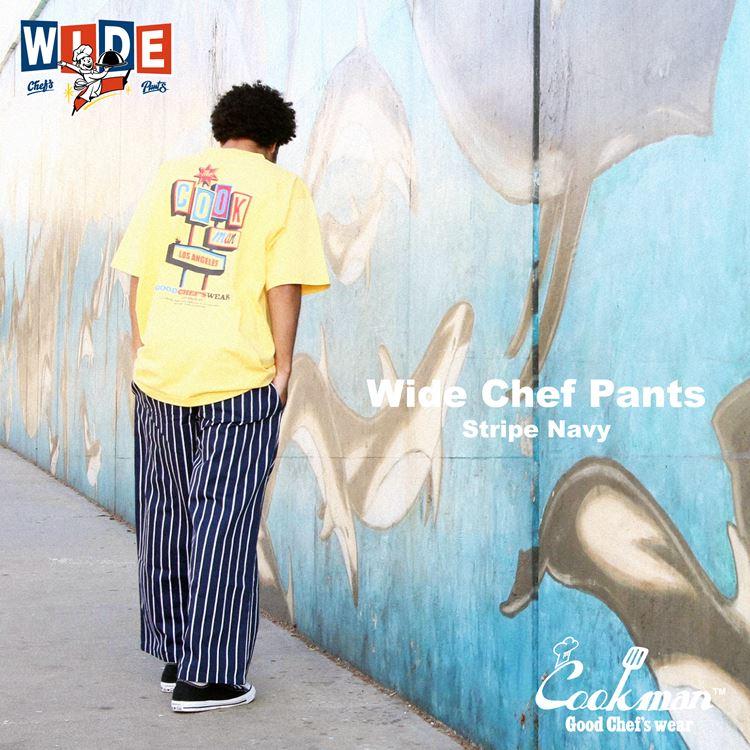 ワイドシェフパンツ Wide Chef Pants Stripe Navy