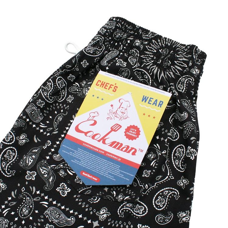 シェフパンツ Chef Pants Short Paisley Black
