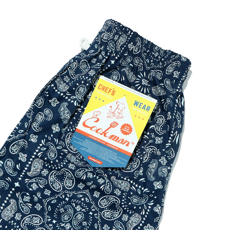 シェフパンツ Chef Pants Short Paisley Navy