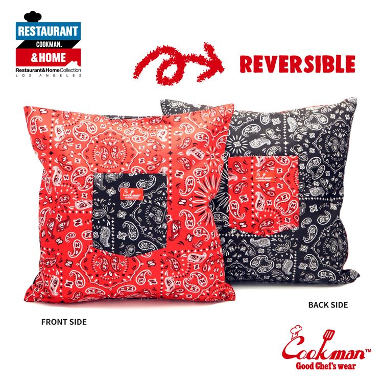 Cushion Pocket Cover Reversible 「Paisley」 Red & Black