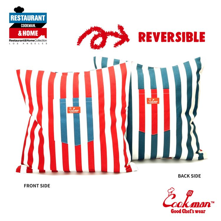Cushion Pocket Cover Reversible 「Wide Stripe」 Navy & Red