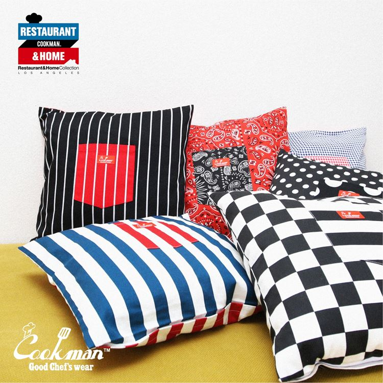 Cushion Pocket Cover Reversible 「Stripe」 Black & Red