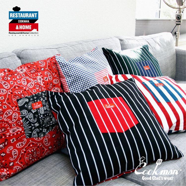 クッションカバー Cushion Pocket Cover Reversible Stripe Black & Red