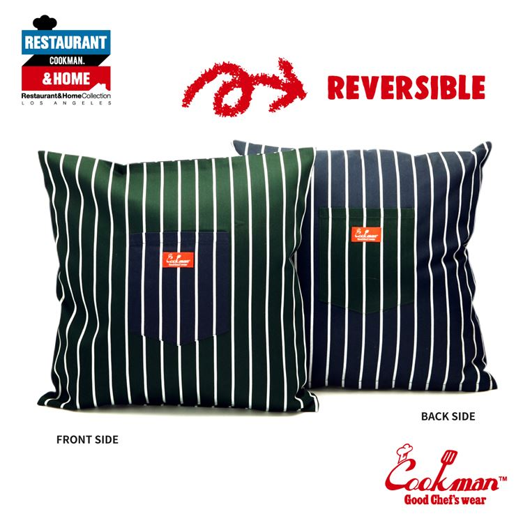 Cushion Pocket Cover Reversible 「Stripe」  D/Green & Navy
