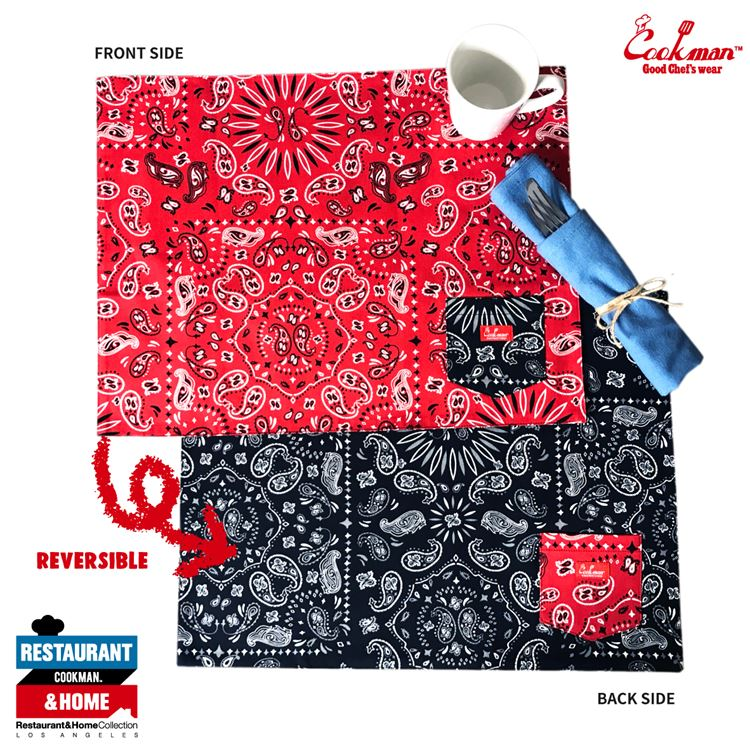 Table Pocket Mat Reversible 「Paisley Red & Black」