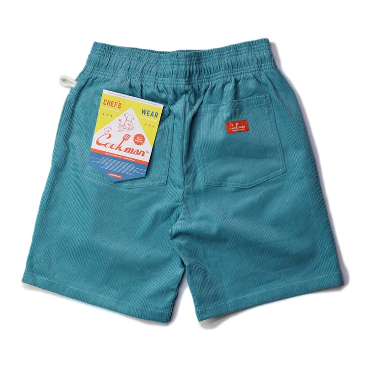 シェフパンツ Chef Pants Short Corduroy Turquoise Blue