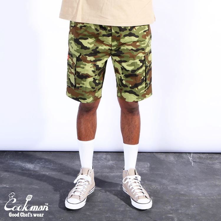 シェフパンツ Chef Pants Short Cargo Ripstop Camo Green (Woodland)