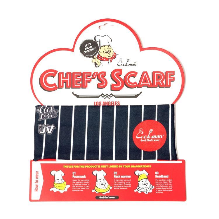 Chef's Scarf  「Stripe」 Black