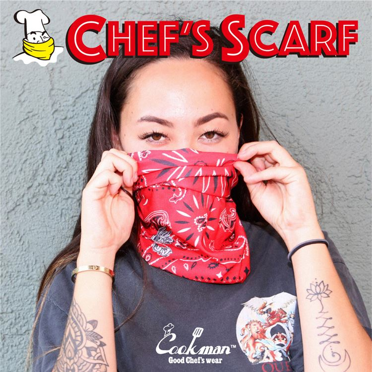 Chef's Scarf  「Paisley」 Red